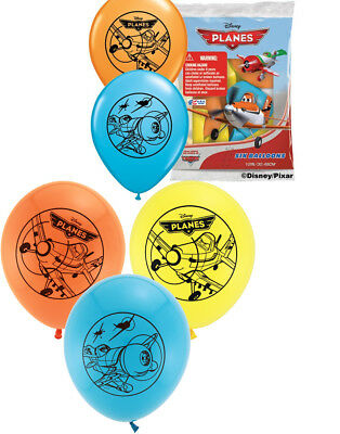 """Set of 6 Disney Planes 12"""" Assorted Color Balloons"""