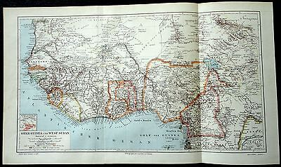 1896 Antique Lithograph Plate Germany Meyers MAP OBER GUINEA WEST SUDAN AFRICA