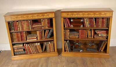 Pair Satinwood Regency Low Open Bookcases Open Front