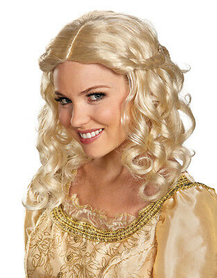 Womens Long Blonde Aurora Maleficent Princess Braided Costume Accessory Wig