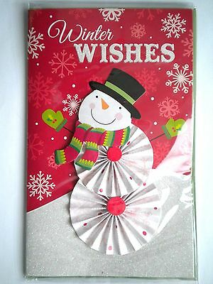 """Luxury Embellished 3D """"winter Wishes"""" Snowman Christmas Greeting Card & Envelope"""