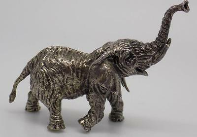 Vintage Solid Silver Heavy Elephant Miniature - Stamped - Made in Italy