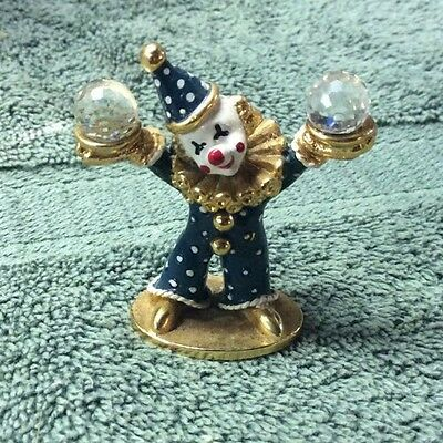 Spoontiques Mini Clown Pewter Figurine Crystal Spheres CM447 1985 USA
