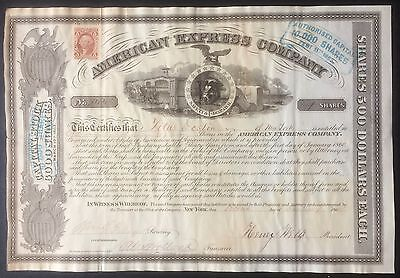 USA 1865 American Express 500 $ Signed WELLS - FARGO - HOLLAND Bond Share Stock