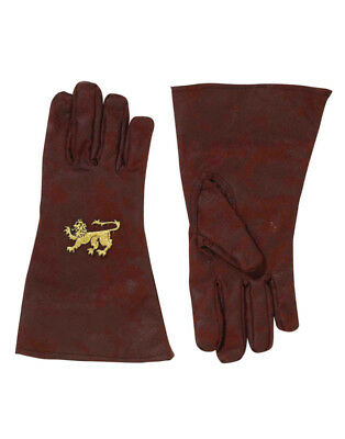 Adults Deluxe Brown Medieval Renaissance Knight Costume Gold Lion Gloves
