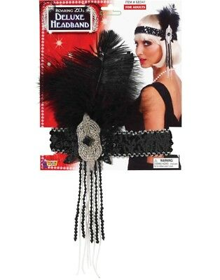 Deluxe Silver Sequin Flapper Costume Headband with Feather Accent