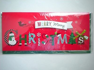 """Luxury Embellished 3D """"merry, Merry Christmas"""" Greeting Card & Green Envelope"""