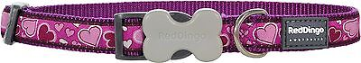 Red Dingo Purple Love Breezy Hearts Puppy Dog Collar Size X Small-Large