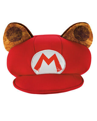 Child's Nintendo Mario Red Hat With Brown Raccoon Ears Costume Accessory