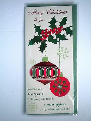 """Luxury Embellished 3D """"merry Christmas To You"""" Greeting Card & Green Envelope"""