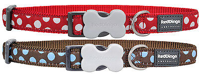 Red Dingo Red OR Blue Classic Polka Dot Puppy Dog Collar Size X Small-Large