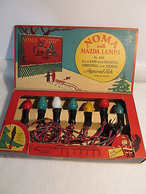 VINTAGE NOMA CHRISTMAS LIGHTS w/GE BULBS - C-7 - STRING OF 7 -  TESTED & WORKING