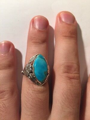 Beautiful Navajo 925Silver And Turquoise Ring Old Pawn Authentic Style Native