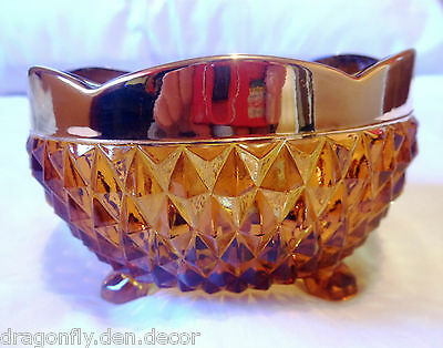 1960 Indiana Glass DIAMOND POINT Amber Gold Band Trim Tri-Footed Bowl Candy Dish