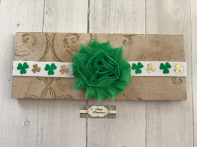 St Pattys Day Baby Headband,  St Patricks Day & Gold Shamrocks Rosette Headband