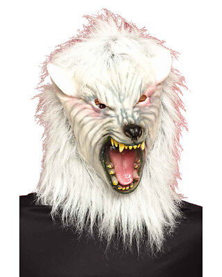 Adult's Evil Scary White Werewolf Wolf Vinyl Full Mask Costume Accessory