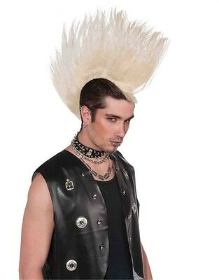 Deluxe Adult Blonde Punk Rock Costume Large Spiked Mohawk Wig