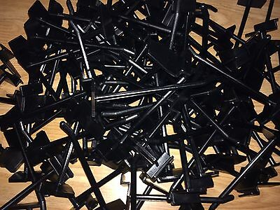 "100 x BLACK Plastic Slatwall Hooks prongs 11.5cm/4.5"" Approx NEW. Lots Available"