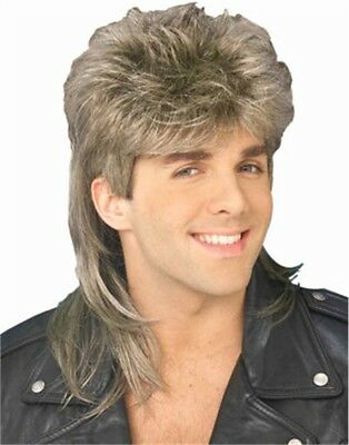 Adult Long Brown Blond Achy Breaky Costume Mullet Wig