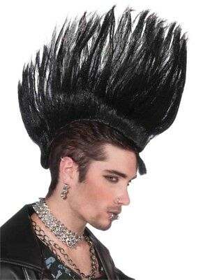 Deluxe Adult Black Punk Rock Costume Large Spiked Mohawk Wig