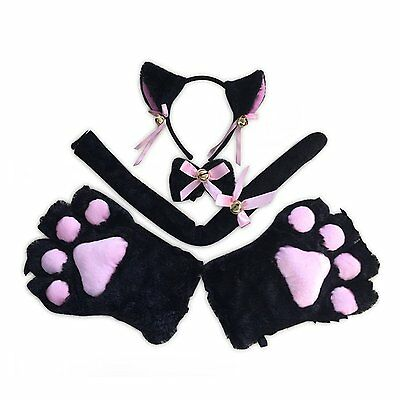 Cat Cosplay Set Ears Tail Collar Paws black