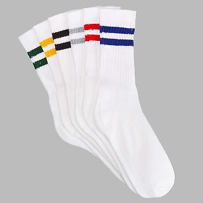 12 Pairs 1 Dozen Striped Crew Old School Classic Athletic Casual Socks Six Color