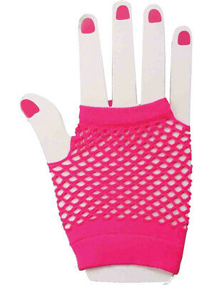 80's Neon Pink Short Fishnet Adult Gloves Adult