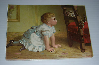 Vintage victorian card GIRL and CAT on a CHAIR