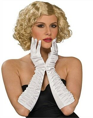 Women's White Elbow Length Satin Finish Costume Gloves