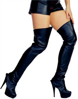 Adult Costume Black Pretty Woman Faux Leather Thigh High Boot Tops