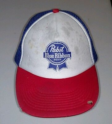 Vintage Pabst Blue Ribbon Trucker Hat Snapback Cap Distressed Well Worn Hipster