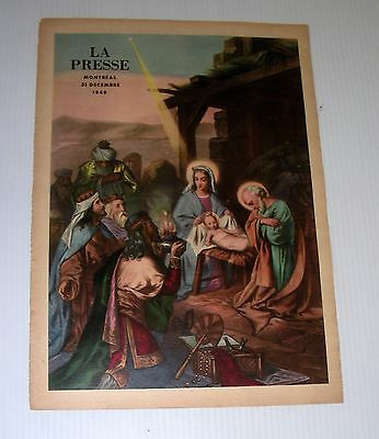 NATIVITY french tabloid front page 1949 La Presse Canada Religion Xmas christmas