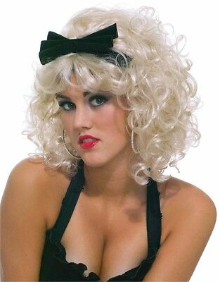 New 80s Rock Star Curly Blonde Costume Accessory Wig with Black Bow