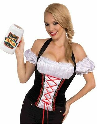 Adult Women's Oktoberfest Beer Girl Costume Accessory Lace-Up Corset Style Vest