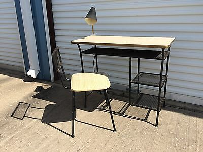 vintage 1950's Mid Century Modern desk with chair and built in lamp