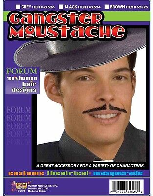 New Deluxe Human Hair Black Cheesy Gangster Costume Mustache