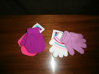 Nwt- 4 Pairs One Size Girls Toddler Healthtex Mittens.Purple,Neon Pink,Striped