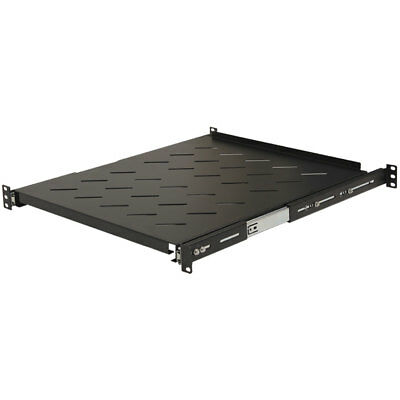 "Sliding Rack Vented Server Shelf 1U 19"" 4 Post Rack Mount Adjustable 20"" - 34"""