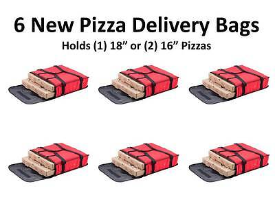 "6 NEW 18"" x 18"" x 5"" Red Nylon Insulated Pizza Delivery Bags 124PIBAG2NYL"