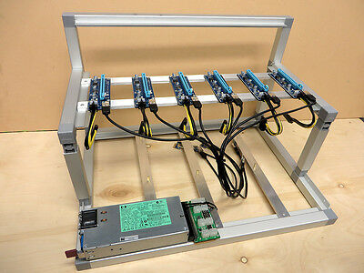 Open Air GPU Mining Rig Frame Case w/ 6 USB Risers 1200w PSU Kit Ethereum ETH