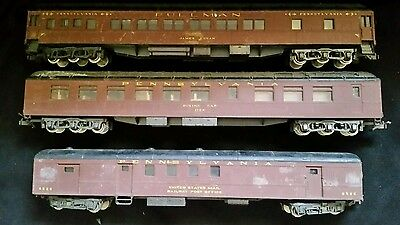 3 × Vintage PULLMAN PENNSYLVANIA DINING MAIL PASSANGER Train cars  Carrages HO