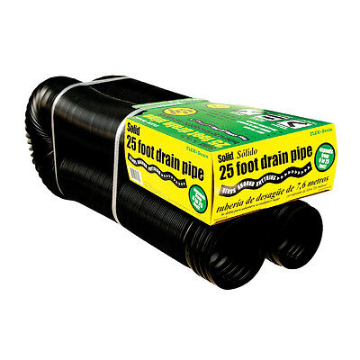 Drain Corrugated Solid Flex Pipe 4-in x 25-Ft Flexible Durable Plastic Downspout