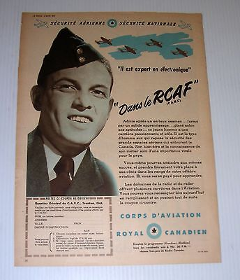 Vintage RCAF French tabloid advertising WWII Canada electronic CARC military