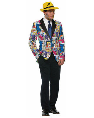 Adult's Mens Pop Art Comic Print Blazer Jacket Costume Accessory