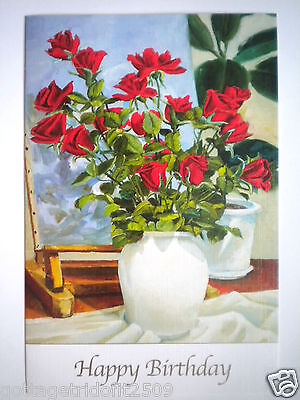 """""""RED ROSES IN A VASE"""" GREETING CARD ~ Mouth Painted ~ Vojko Gasperut ~ #E503"""