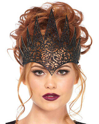 Adults Royal Queen Princess Medieval Black Die Cut Crown Costume Accessory