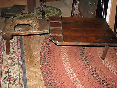 Early Primitive Antique Wooden Cobblers Bench and Stool