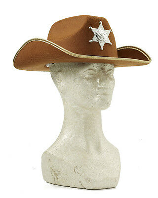 Child's Brown Wild West Western Cowboy Hat With Badge Costume Accessory
