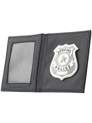 Adult Realistic 911 Silver Special Police Cop Badge In Wallet Costume Accessory