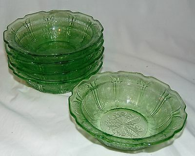 """5 Jeannette CHERRY BLOSSOM GREEN *5 1/4"""" CEREAL BOWLS*"""